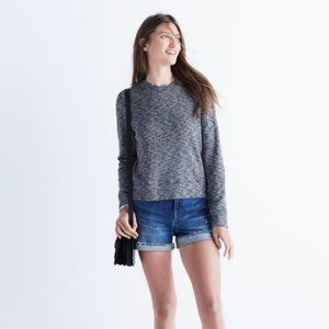 Madewell Mockneck Marled Gray Sweater Top Small